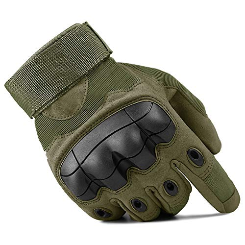 (XJKNBUJF Outdoor Sport Climbing Military Tactical Army Anti-Slip Airsoft Protection Shell Full Finger Gloves Army Green L)