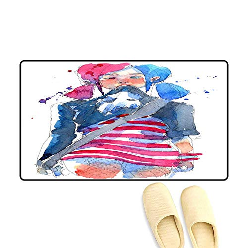 (Door Mats for Inside Non Slip Backing Watercolor Painting Illustration Set of Cool Rock Star Girl wi Electric Bass Guitar Traditional Artwork Scanned)