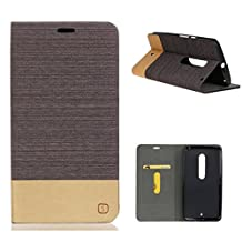 MOONCASE Moto X Play Case, Slim Wallet Flip Leather Case Cover for Motorola Moto X Play Bookstyle Folio [Shock Absorbent] TPU Kickstand Case with Card Slot Brown Coffee