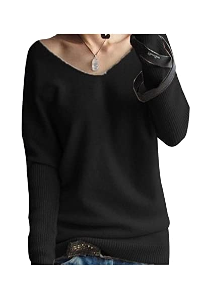 Kakalot Womens Sexy V Neck Long Sleeve Cashmere Blend Pullover ...