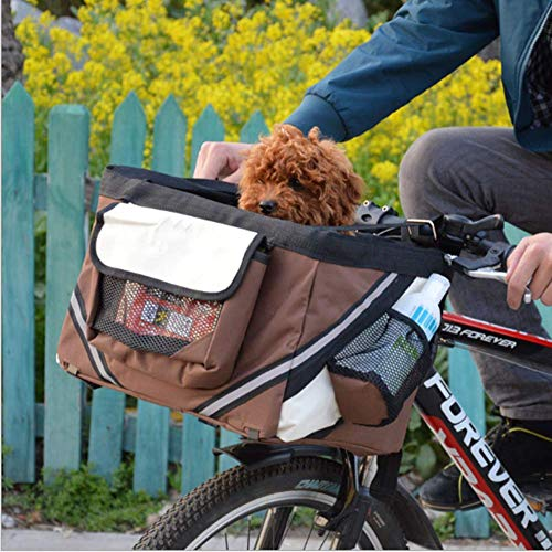 FMJI Dog Bike Baskets Pet Carrier for Bicycle,2-in-1 Pet Bike Basket & Over The Shoulder Carrier for Traveler from FMJI