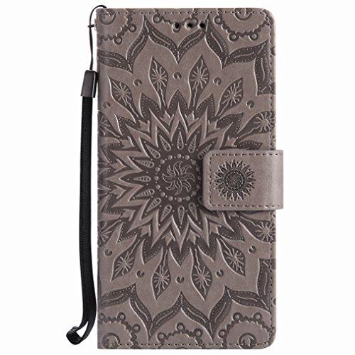 Yiizy Huawei Honor 5c Custodia Cover, Sole Petali Design Sottile Flip Portafoglio PU Pelle Cuoio Copertura Shell Case Slot Schede Cavalletto Stile Libro Bumper Protettivo Borsa (Grigio)