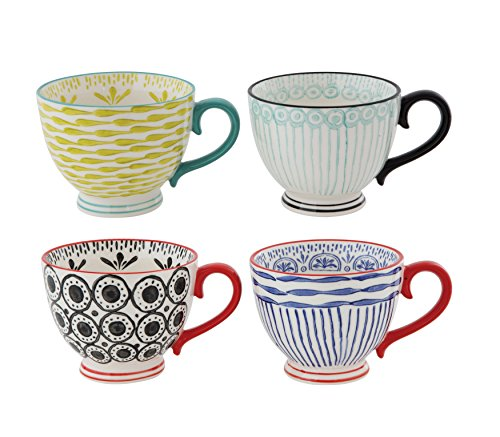 Creative Co-Op DA7743SET Set of 4 Hand Painted Stoneware Cups ()