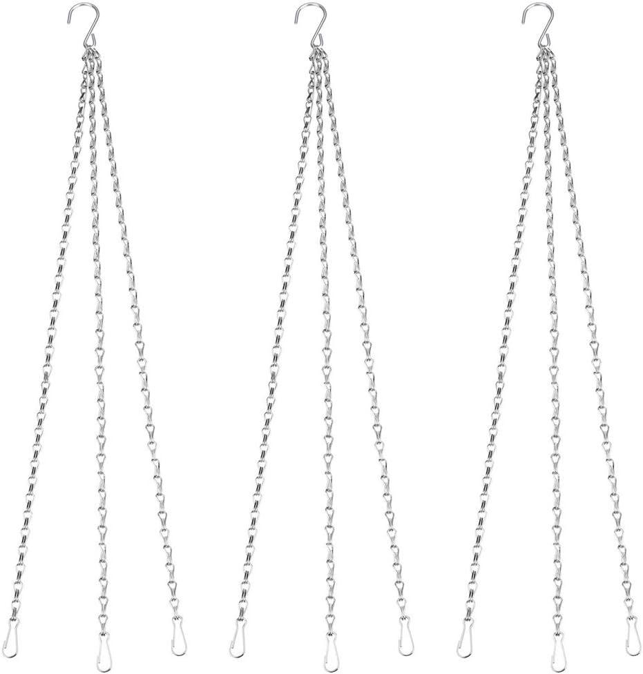BlueXP 3 Piezas Cadena Colgantes 76 cm Cesta de Flores Cadena de Reemplazo para Comederos para Pájaros Macetas Linternas Cesta y Adornos-Plata