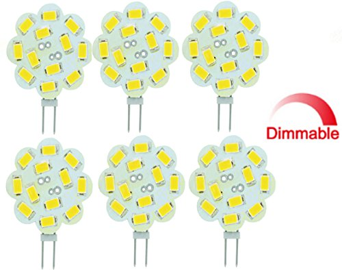 Best to Buy (6-PACK) Dimmable 3Watt T4 G4 DISC LED 12SMD 5730LED, Warm White (Jc10 Bi-pin 18-22W Replacement) for RV Campers, Trailers, Boats, and Under-cabinet Light ...