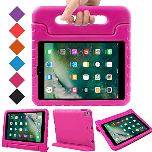 BMOUO Case for New iPad 9.7 Inch 2018/2017 - Shockproof Case Light Weight Kids Case Cover Handle Stand Case for iPad 9.7 Inch 2017/2018 New Model - Rose