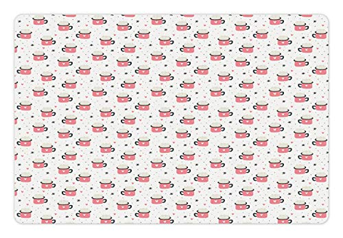 Lunarable Winter Pet Mat for Food and Water, Repeating Hygge Pattern Hot Cocoa Mugs Hearts Snowflakes and Dots, Rectangle Non-Slip Rubber Mat for Dogs and Cats, Pastel Pink Dark Grey Coconut