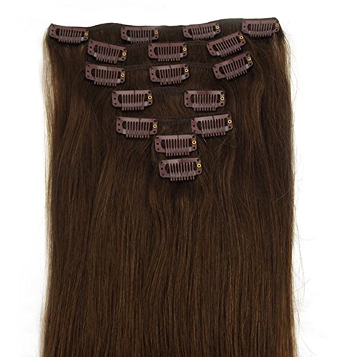 "Clip in Hair Extensions Medium Brown and Real Remy Human Hair-Protect Your Investment-best Lifetime Guarantee (18"" 70g)"