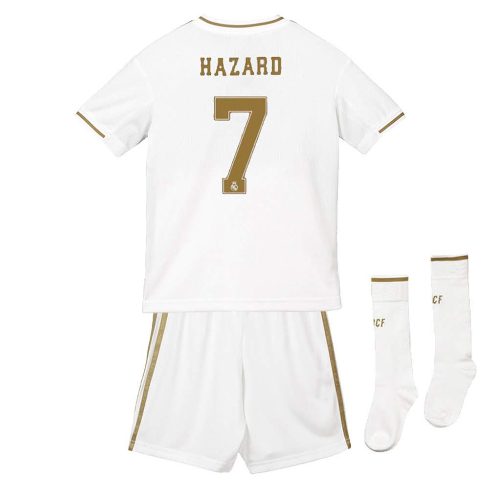 SDSPORT Kidss Football Wear Jersey Sets with Socks Royal House Madrid NO.7 Hazard Camiseta De Ropa Deportiva Shorts Ropa Deportiva