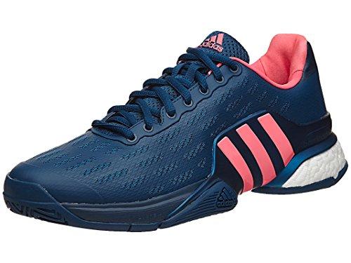 adidas Performance Men's Barricade 2016 Boost Tennis Shoe, Tech Steel/Tech Steel/Flash Red, 10.5 M US