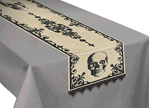 Amscan Eerie Boneyard Halloween Party Skull Table Runner Decoration, Multicolor, 72 x 14 (Eerie Halloween Decorations)