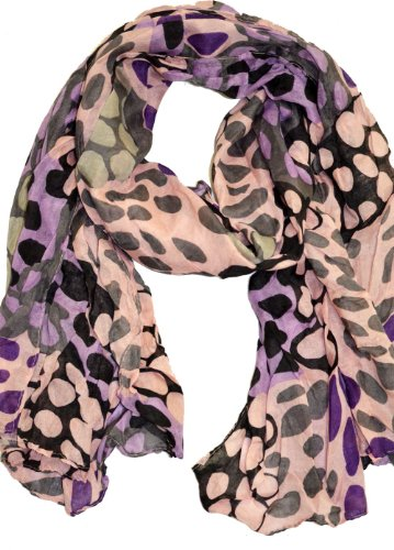 Belle Donne- Women's Sheer Spotted Multicolor Scarf -Spotted Mauve