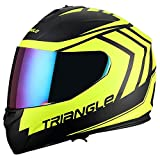 Triangle motorcycle full face dual Visor helmets (Medium, Matte Black/Yellow)