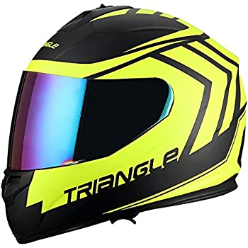 Triangle motorcycle full face dual Visor helmets (Large, Matte Black/Yellow)