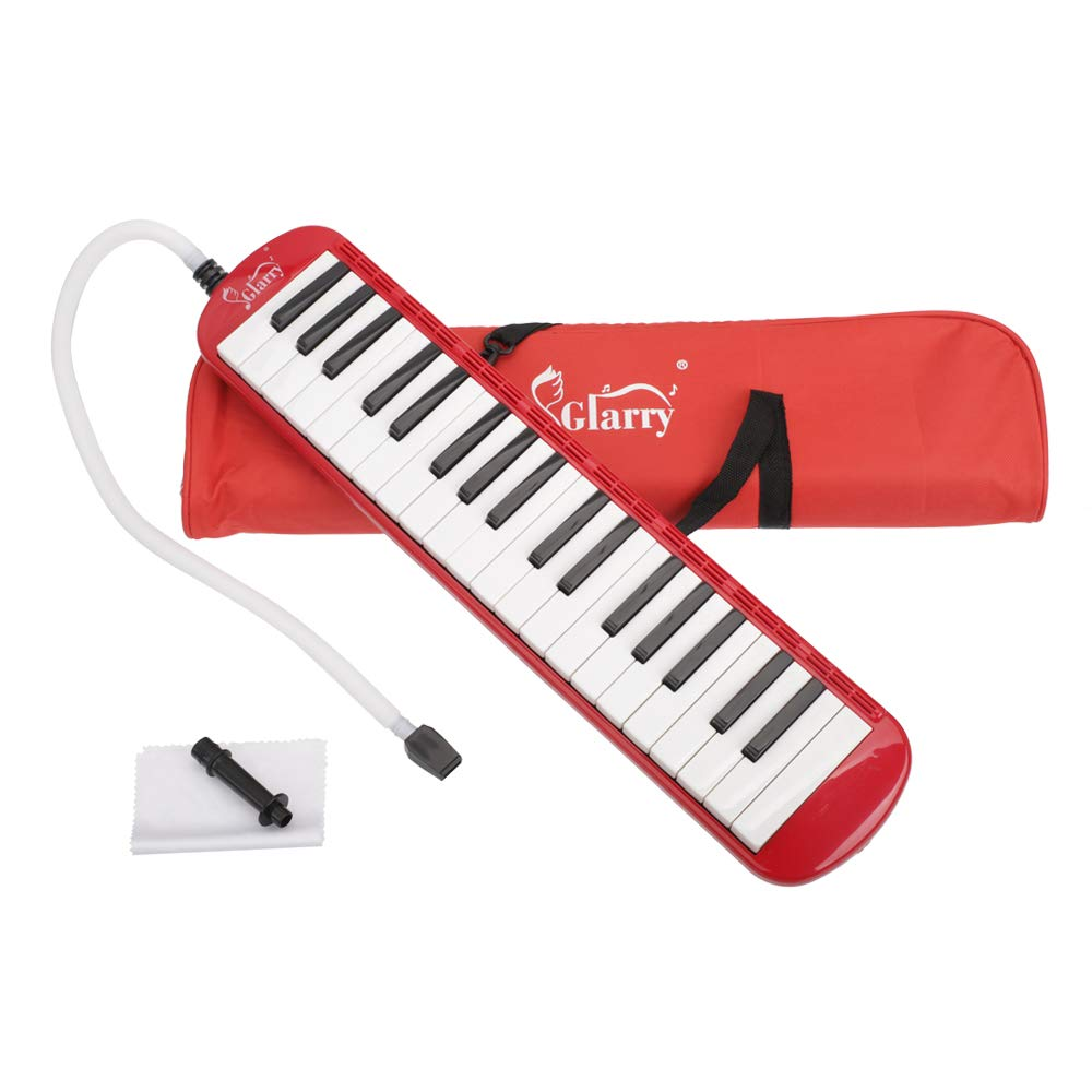 Festnight 37 Key Melodica Mouthpiece Bag Piano Style Pianica with Carrying Bag and Cleaning Cloth 37-Key Portable Melodica Red