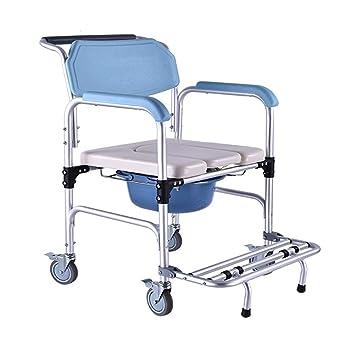 Commode Chair Yuehg Silla WC Inodoro con Tapa Silla De Ducha De Aluminio Equipado con Reposabrazos