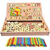 Muyindo Montessori Toys for Toddlers, Double Sides Board Teaching Math Drawing Writing, Teaching Clock, Times Tables Wooden Number Blocks Early Educational Toy Children
