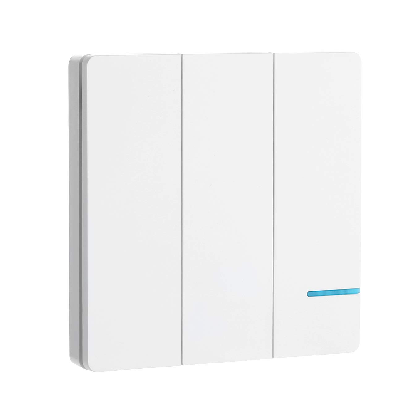 wallpad White 3 Gang Frameless Wireless Remote Wall Switch Kits With 3 Receivers, Mounting Anywhere Wiring, No WiFi, No Tearing the wall, No APP, On/Off Switch for Lamps, LED Lights, Fan Appliances (Contains 3 Gang Switch & 3 Receivers) Wallpad Electric
