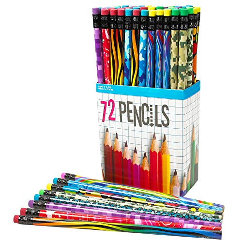Pencil Assortment – Assorted Colorful Pencils for Kids (Pack of 72) – Exciting School Supplies, Awards & Incentives ()