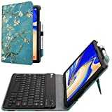 Fintie Folio Keyboard Case for Samsung Galaxy Tab S4 10.5 2018 Model SM-T830/T835/T837, Premium PU Leather Stand Cover with Removable Wireless Bluetooth Keyboard, Blossom