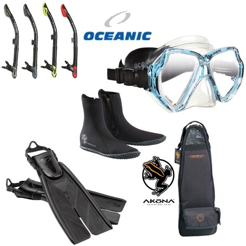 Boots Snorkel Mask Fins (Oceanic Basic Package w/ Mask, Fins, Snorkel, Boots, Bag)