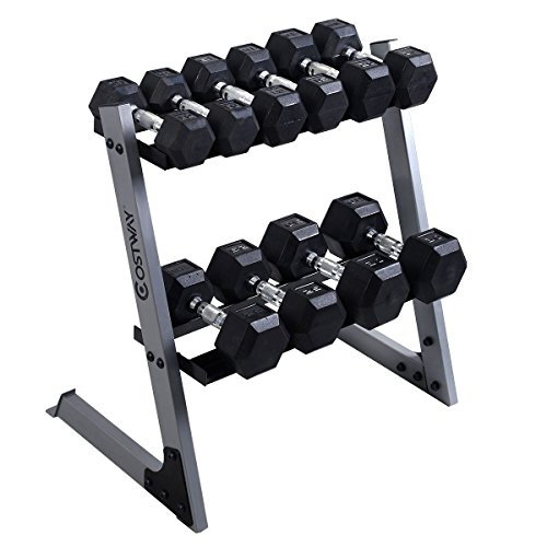 2 Tier 29'' Dumbbell Weight Storage Rack Home Stand Base + Multiple Weights Set by dumbbells