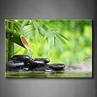 Verde Spa Todavía Vida Con Bambú Fuente Y zen Piedra En AguaPintura de la pintura de la pared La impresión de la imagen en la lona Botánico Fotos de la Obra para la Decoración Moderna del Ministerio del Interior