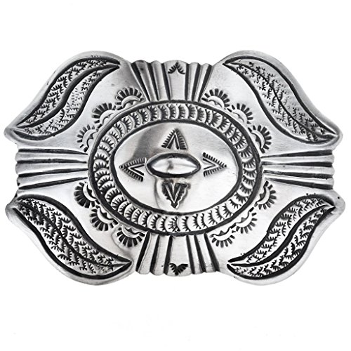 Old Pawn Style Silver Belt Buckle Navajo Made Santa Fe Finish ()