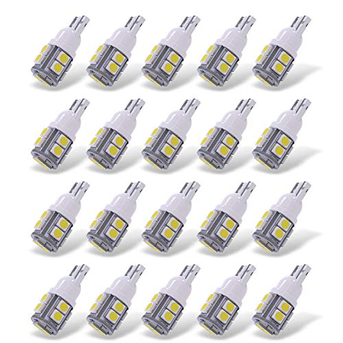 - YITAMOTOR 20 Pack White T10 168 194 Wedge LED Light Bulbs, W5W 2825 158 192 175 162 Replacement LED Interior Lights Bulb for Trucks Car License Plate/Map/Dome/Trunk/Light Bulb, 10-SMD, 12v
