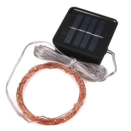 Magicnight Solar String Lights Garden Outdoor Led Starry String Light Copper Wire 15 Feet 50 Leds Waterproof For Patio Bonsai Wedding Party, Auto On/Off,Flash / Steady On (Mini Solar Lights)