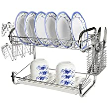 MyGift® Chrome Plated Stainless Steel 2 Tier Dish Rack Storage w/ Cup Drainer & Cutlery Drying Basket