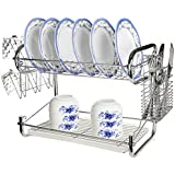 MyGift® Chrome Plated 2 Tier Dish Rack Storage w/ Cup Drainer & Cutlery Drying Basket