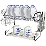 Chrome Plated 2 Tier Dish Rack Storage w/ Cup Drainer & Cutlery Drying Basket