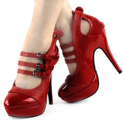 Show Story Designer 3 Buckles Ankle Straps Platform Stilletto Pump,LF30464 Red