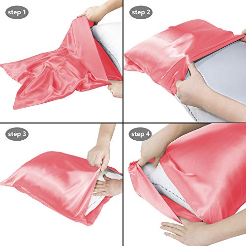 Leccod 2 Pack Silky Satin Pillowcase for Hair and Skin, Super Soft and Luxury Pillow Cases Covers with Envelope Closure (Coral Pink, King: 20x36)