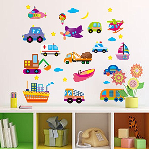 - Let'S Diy Boys Love Cool Car Wall Sticker for Kids Bedroom Decoration Removable Stickers Home Decor