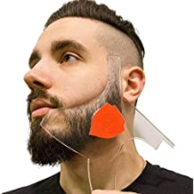 Aberlite Beard Shaper - Beard Lineup Tool w/Barber Pencil (White) - 100% Clear | Many Styles | Long Edges | Anti-Slip - The Ultimate Beard Shaping Tool (Red) - Beard Stencil Guide - Works w/Trimmer