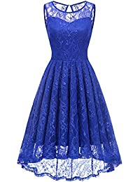 Womens Retro Lace High-Low Homecoming Dress Cocktail Party Gown Bridesmaid Dress