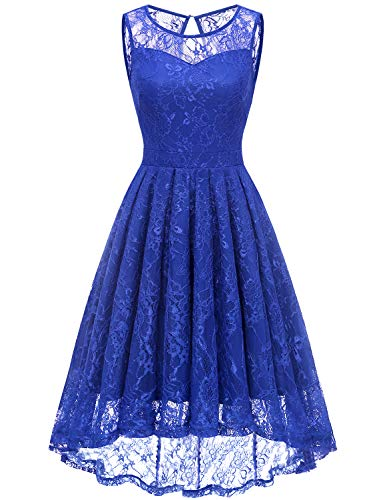(Gardenwed Women's Vintage Lace High Low Bridesmaid Dress Sleeveless Cocktail Party Swing Dress Royal Blue L)