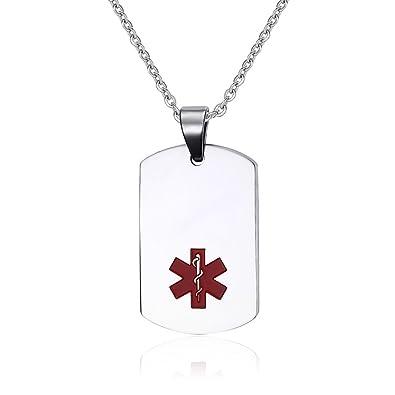 Vnox Acero Inoxidable Médico de Alerta ID Etiqueta de Perro Collar Colgante para Hombres Mujer, Plata,con Cadena de Cable,Grabado Gratis