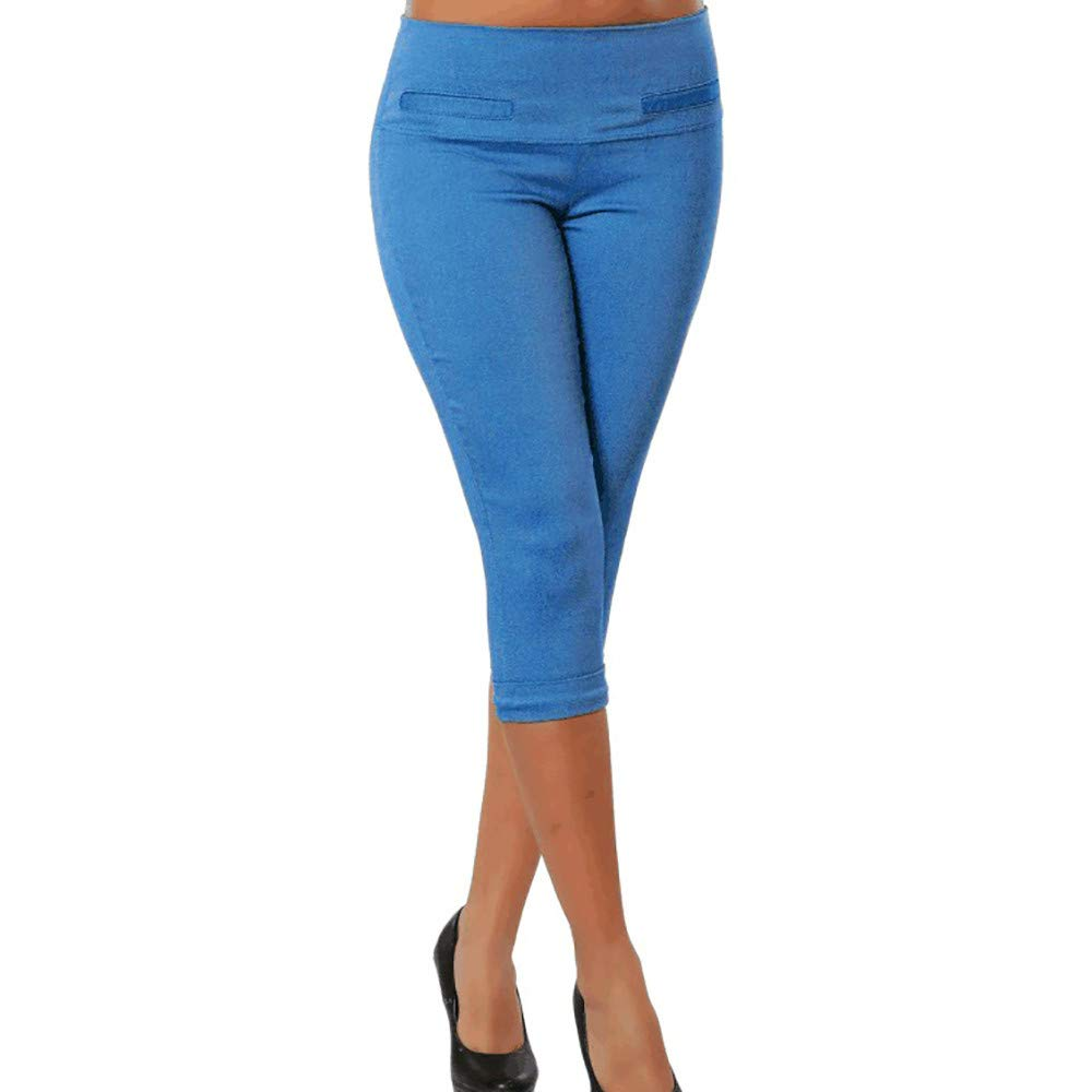 Pervobs Women Plus Size Solid Button Zipper High Waist Calf-Length Pants Trousers(S, Blue B)
