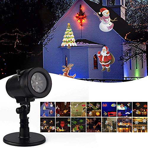 Halloween Projector Lights, Outdoor LED Christmas Projector Light 14 Swithable Patterns Christmas Lights Snowflake Moving Lamp for Landscape Garden Holiday Party Decorations for $<!--$25.99-->