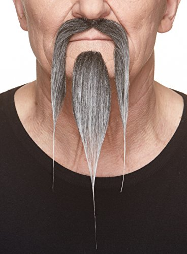 Mustaches Self Adhesive, Novelty, Shaolin Fake Beard and Fake Mustache, False Facial Hair, Costume Accessory for Adults, Salt and Pepper Color -