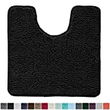 Gorilla Grip Original Shaggy Chenille Oval U-Shape Contoured Mat for Base of Toilet, 22.5x19.5 Size, Machine Wash and Dry, Soft Plush Absorbent Contour Carpet Mats for Bathroom Toilets, Black