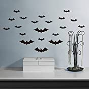 Amaonm 20 Pcs Smasll Size Removable Diy Black Horrible Bat Wall Decals  Stickers Murals Home Art Decor For Kids Bedroom Halloween Wall Decorations ¡