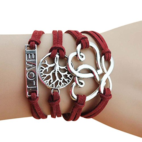 Grecian Costume Diy (Wild Wind (TM) Tree of Life Hearts of Love Red Multi-Strand Religious Wrap Bracelet)