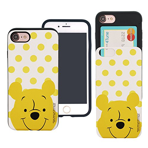 (iPhone 6S / iPhone 6 Case Cute Slim Slider Cover : Card Slot Shock Absorption Shockproof Dual Layer Protective Holder Bumper for iPhone6S / iPhone6 (4.7inch) Case - Dot Pooh )