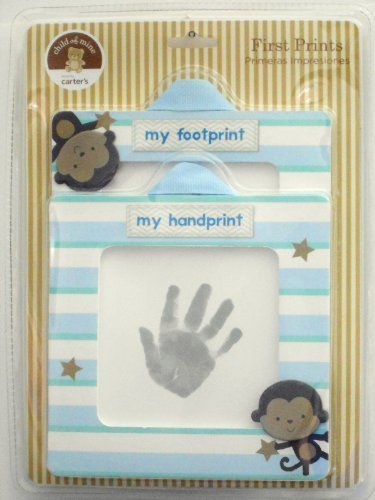Carter's Child of Mine Baby Boy First Handprint and Footprint Kit, Monkey, stripe Frames by Carter's