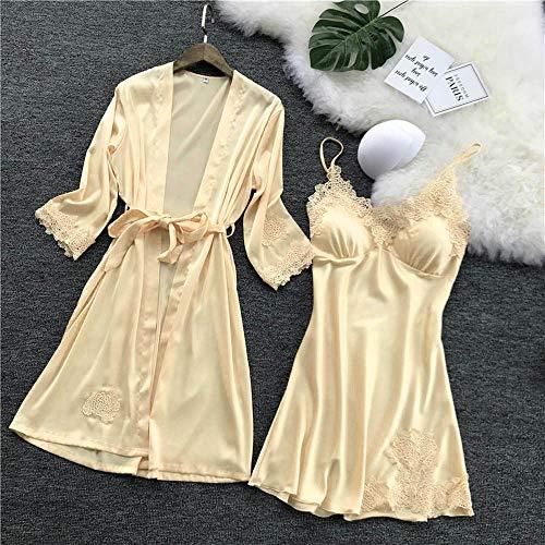 (Cenglings Women Sexy Lingerie Silk Lace Robe Dress Babydoll Nightdress Sleepwear Kimono 1pc Dress+1pc Kimono Pajamas Set)