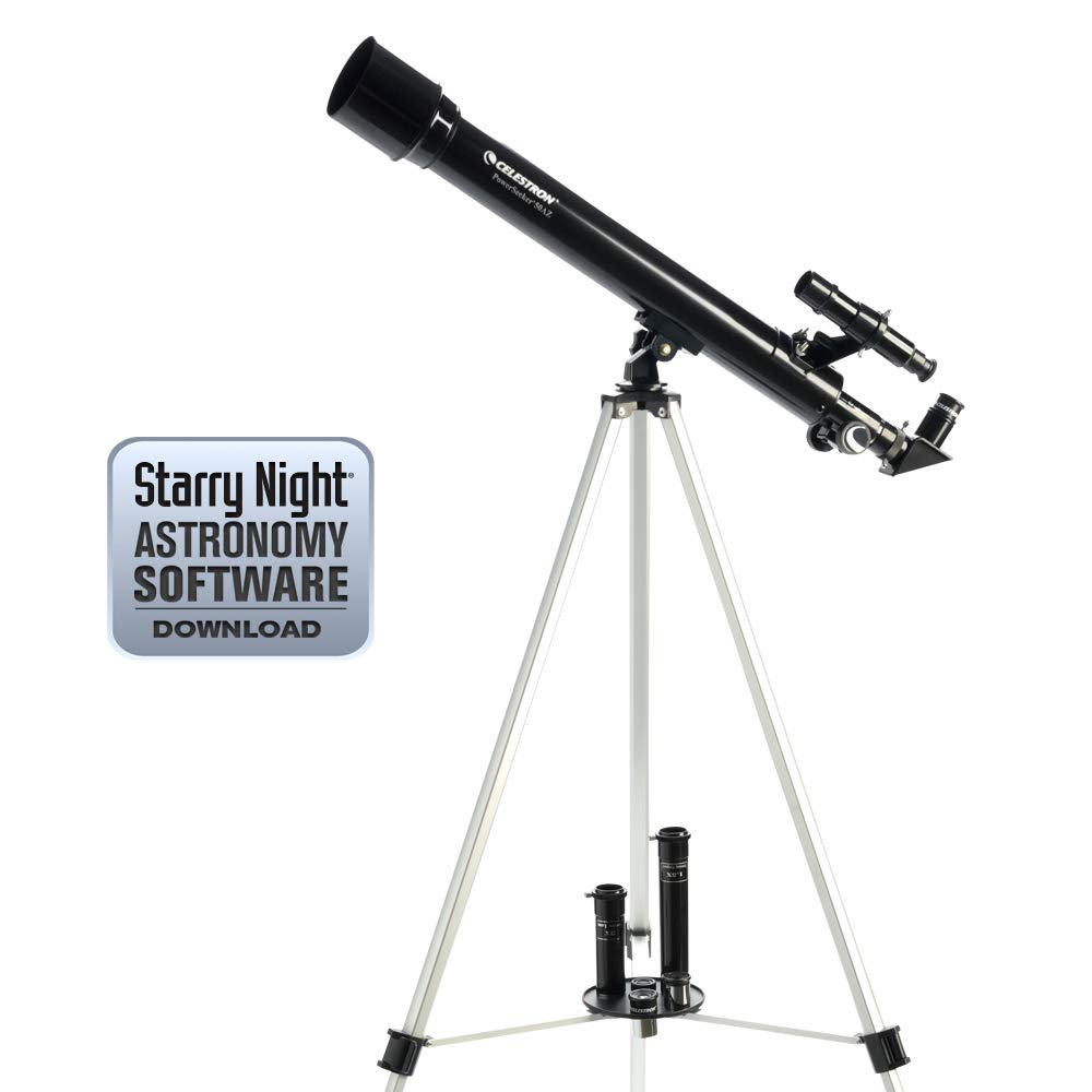 Celestron - PowerSeeker 70AZ Telescope - Manual Alt-Azimuth Telescope for Beginners - Compact and Portable - BONUS Astronomy Software Package - 70mm Aperture by Celestron